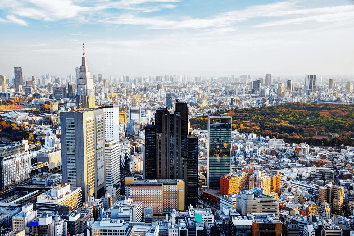 Panoramic view of Shinjuku skyline in Tokyo Japan