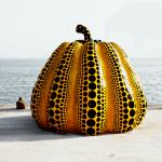 Pumpkin sculpture by Yayoi Kusama at Benesse House Naoshima Island Japan