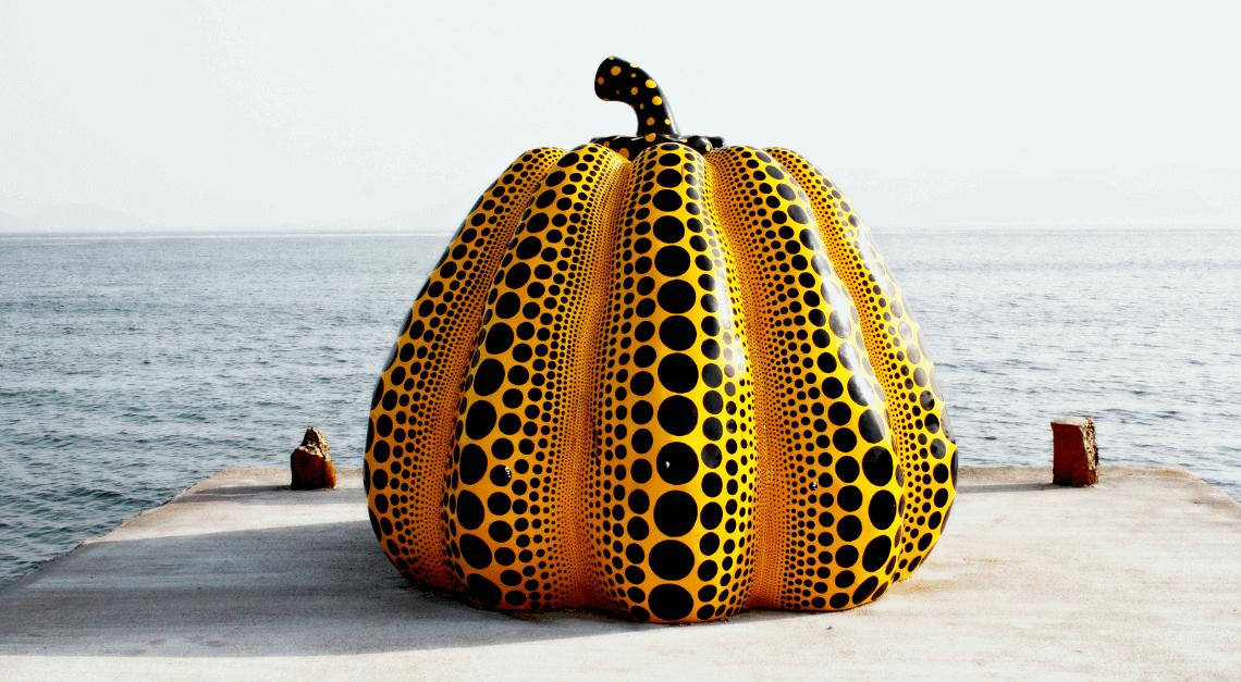 Artist Yayoi Kusama's famous kabocha (pumpkin) sculpture at Benesse House, Naoshima, Japan