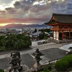 Sunset from Kiyomizudera Kiyomizu-dera Buddhist temple UNESCO world heritage site Kyoto Japan