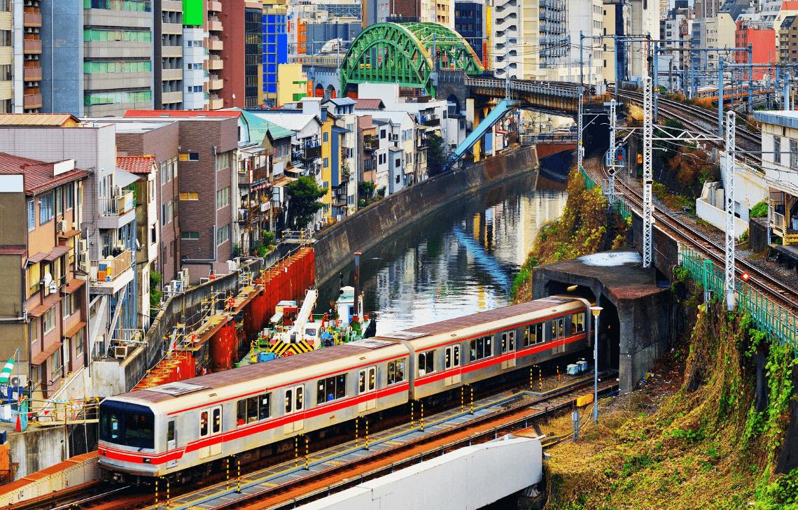 A subway train on the Tokyo Metro Marunouchi line in Tokyo, Japan