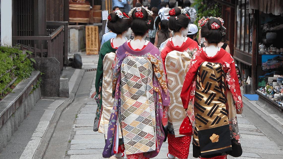 Geisha (geiko) and maiko (apprentice geisha) in Kyoto, Japan