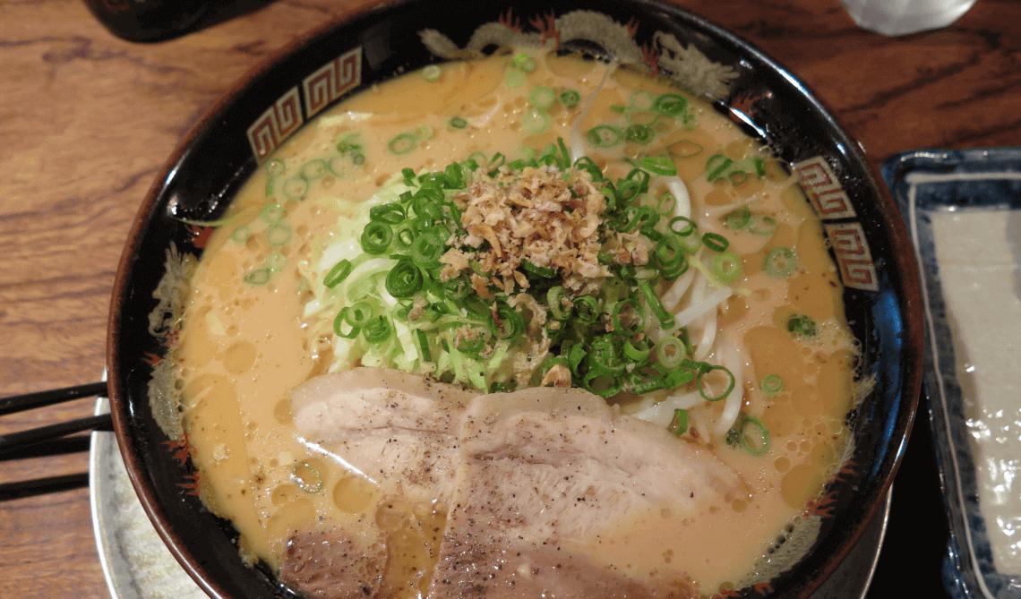 Pork tonkotsu ramen served in Kagoshima, Kyushu, Japan