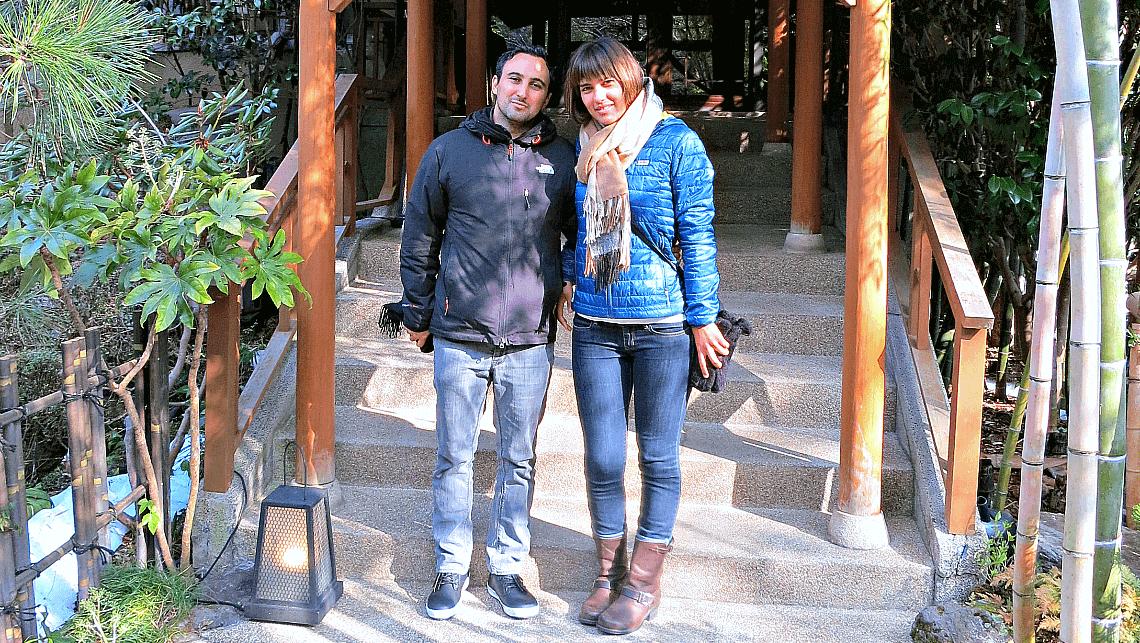 Featured travelers Shahin and Amanda at Yamanochaya Ryokan in Hakone, Japan