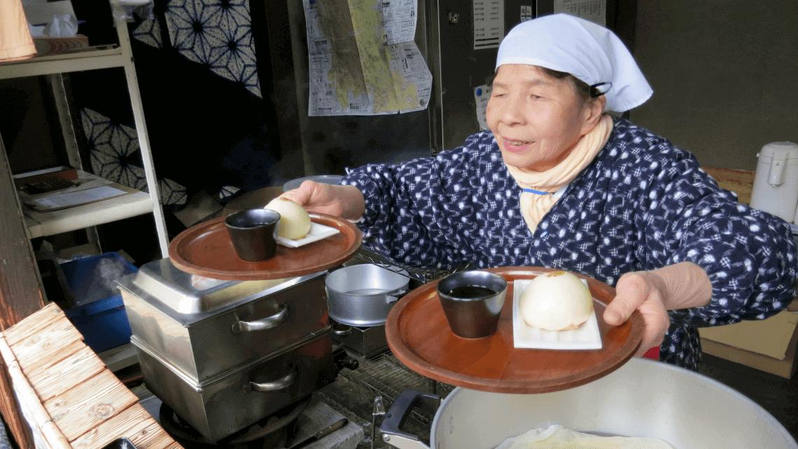 Tofu manju buns at Okutan, Higashiyama District, Kyoto, Japan