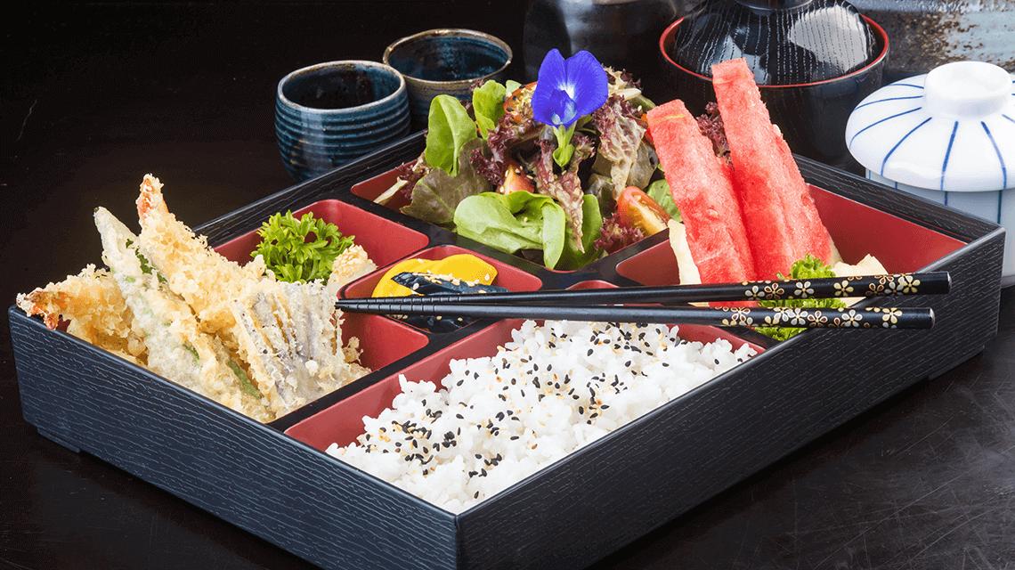 A traditional Japanese bento box