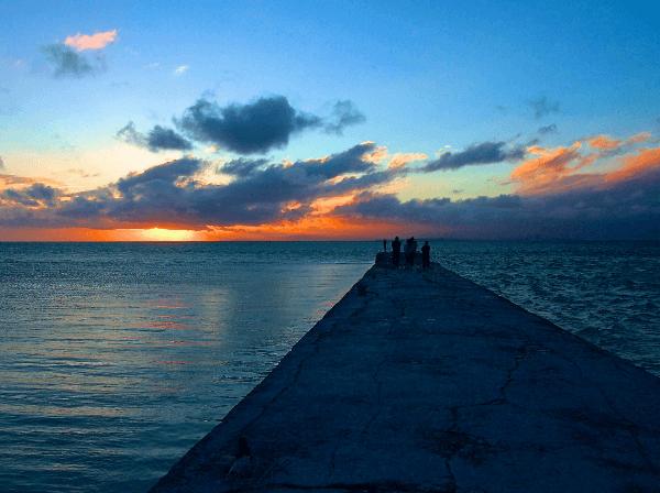 Pier on Taketomi Island in Hoshinoya, Okinawa, Japan.