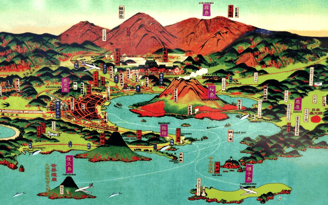An illustrated map of Japan's shochu capital, Kagoshima