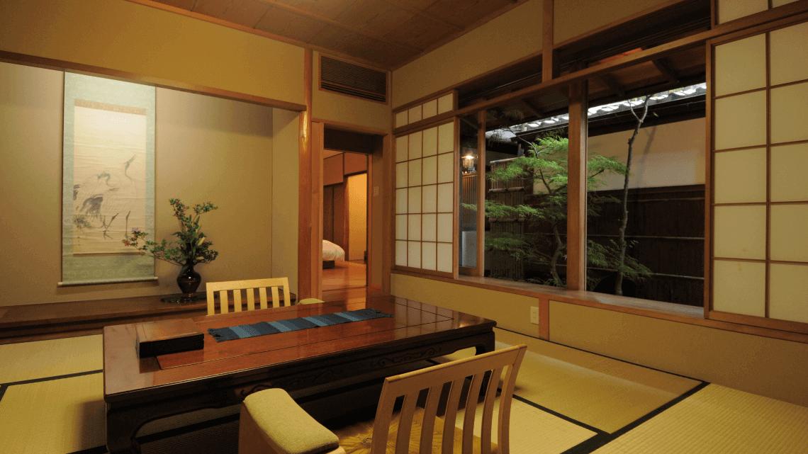 The dining room at Ryokan Kurashiki, Okayama, Japan