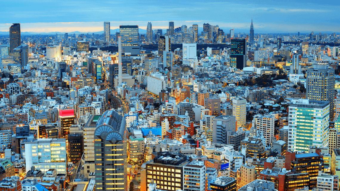 The evening skyline in Tokyo, Japan