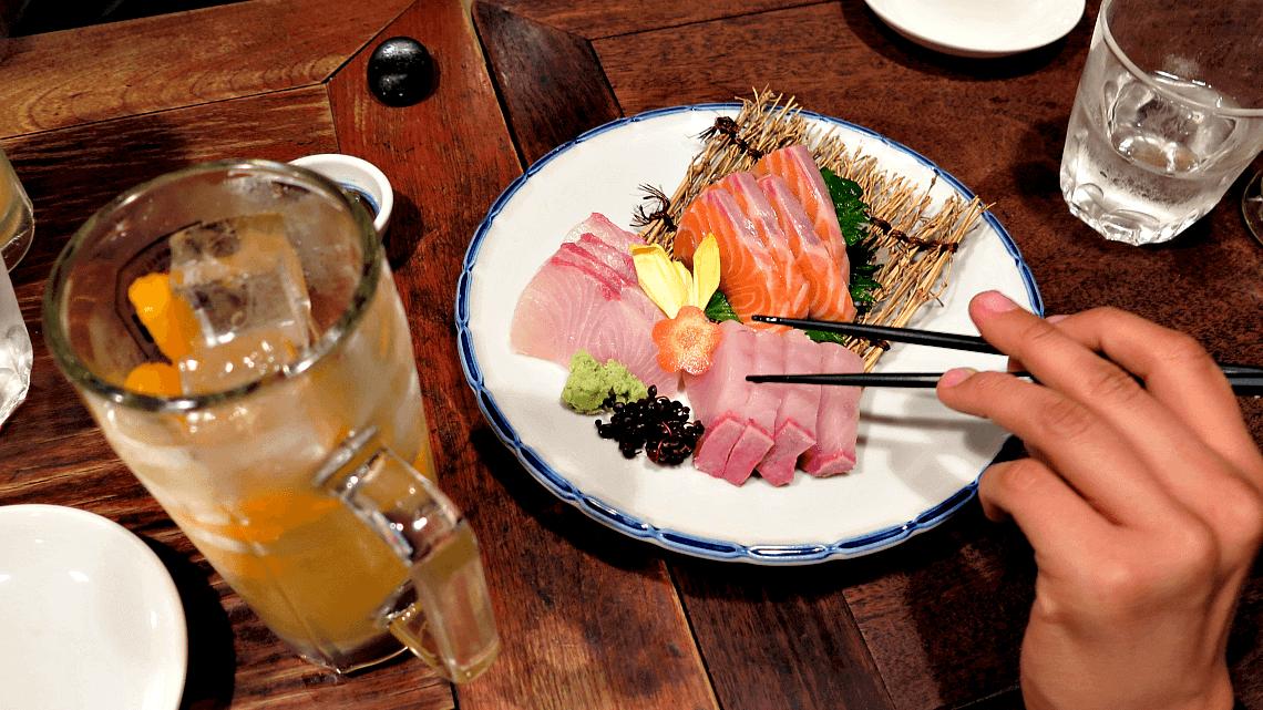 Chu-hai, a shochu cocktail, served at an izakaya in Japan