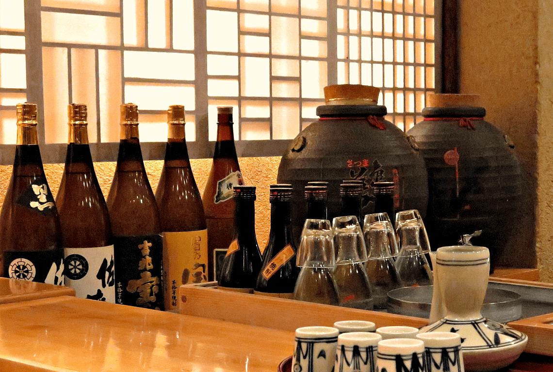 Shochu on display at a restaurant in Kagoshima, Kyushu, Japan