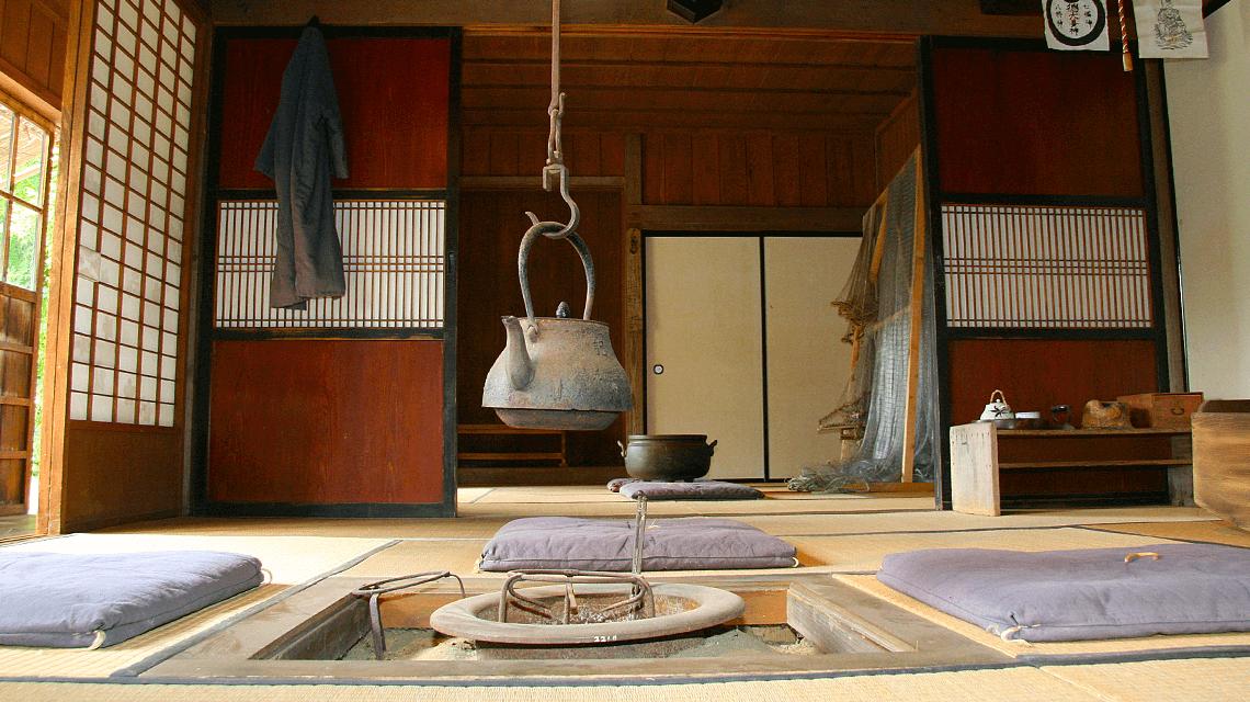 The interior of a traditional ryokan in Hokkaido, Japan