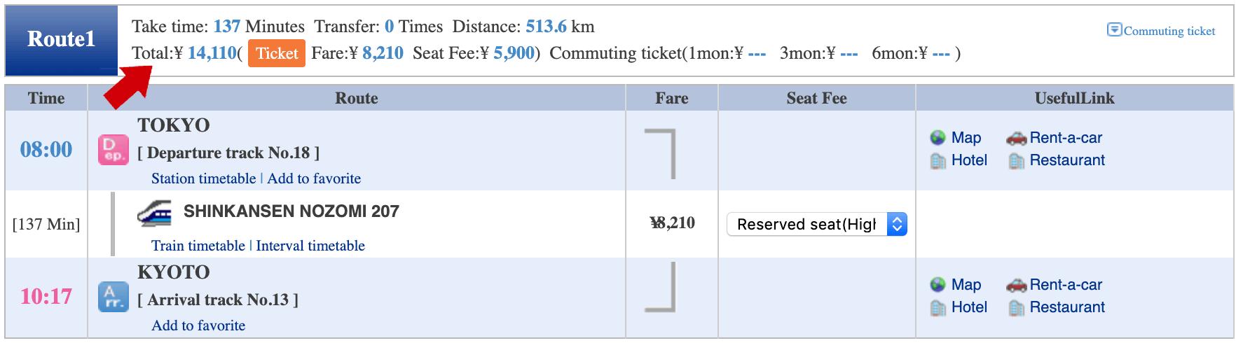 Hyperdia search for shinkansen tickets from Tokyo to Kyoto