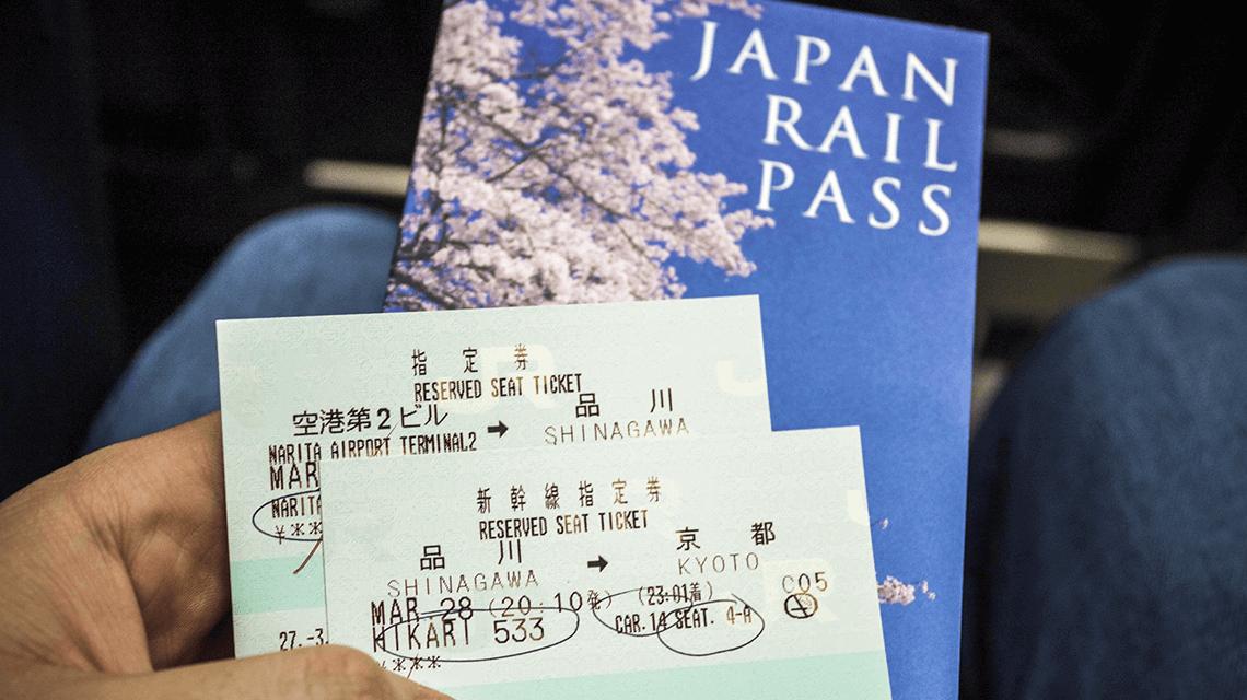 The Japan Rail (JR) Pass and shinkansen tickets from Shinagawa to Kyoto