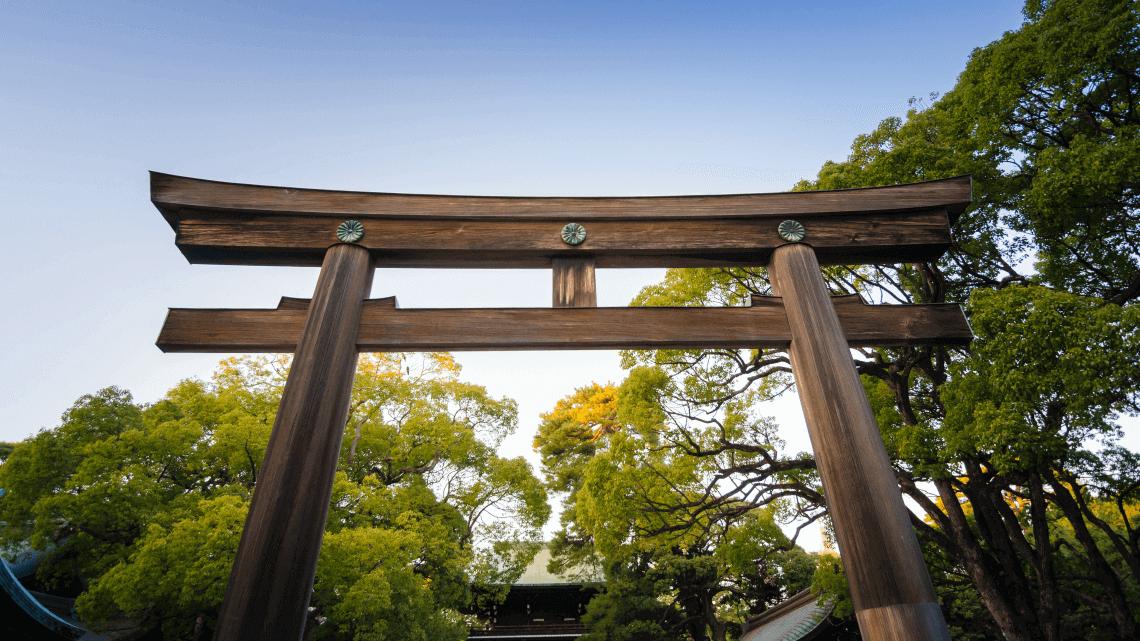 The torii gate at the entrance of Meiji Jingu Shrine, Harajuku, Tokyo, Japan
