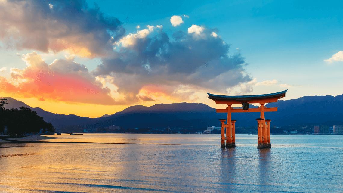 Iconic torii gate of Itsukushima Shrine, UNESCO World Heritage on Miyajima Island, Japan