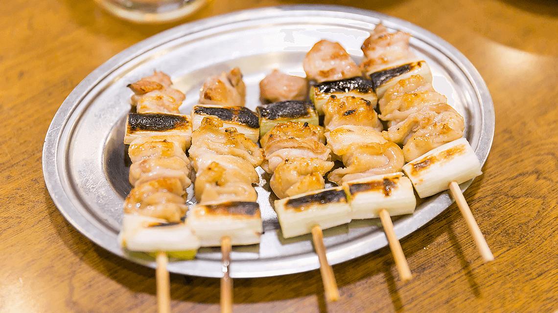 Japanese yakitori (grilled chicken skewers)