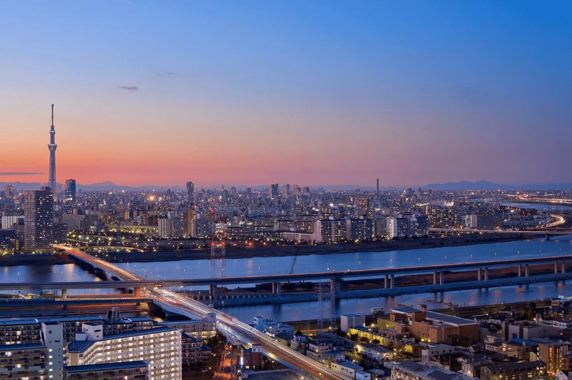 tokyo skytree tokyo skyline sunset japan