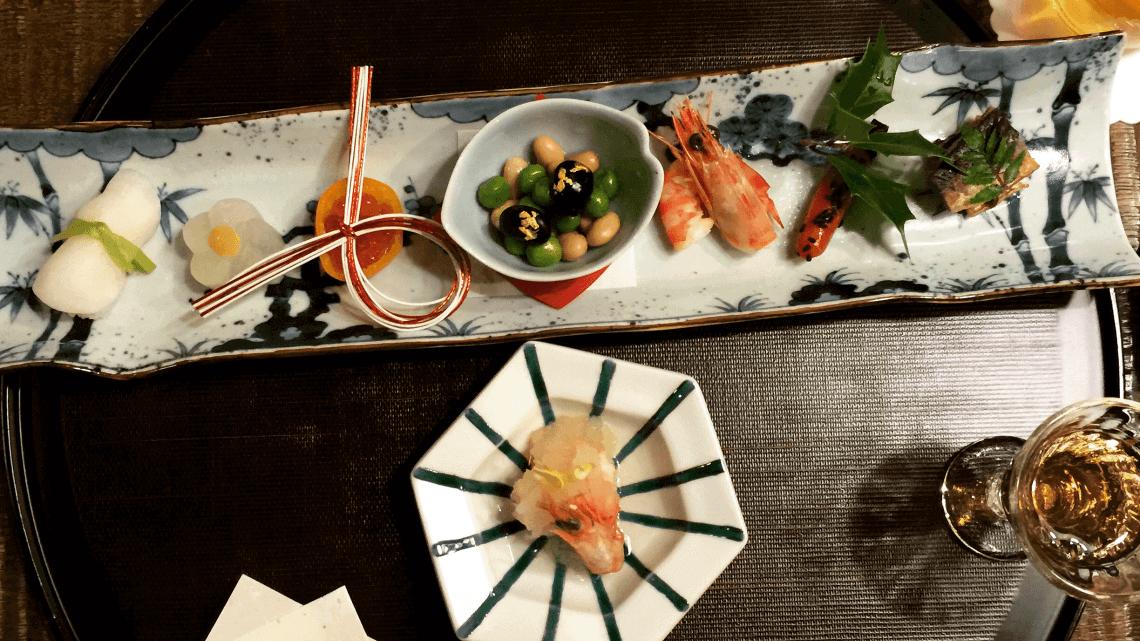 Kaiseki dinner at Ryokan Kurashiki, Okayama, Japan