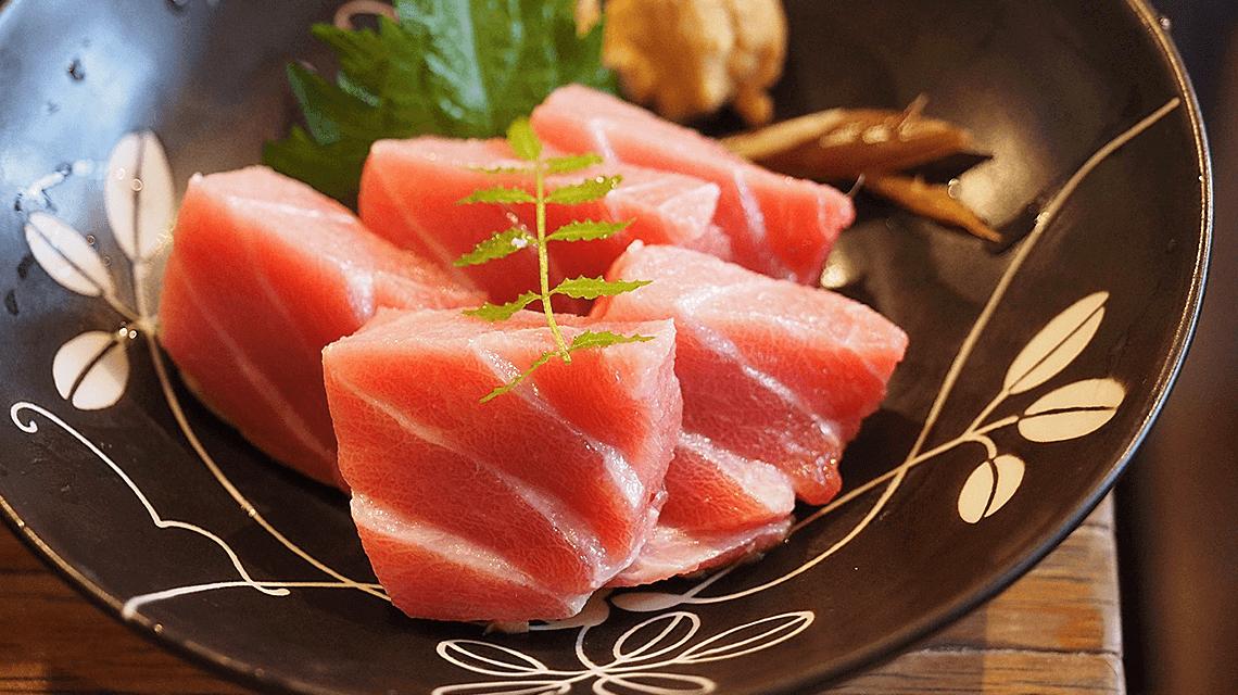 Tuna sashimi served at a sushi restaurant in Tokyo, Japan