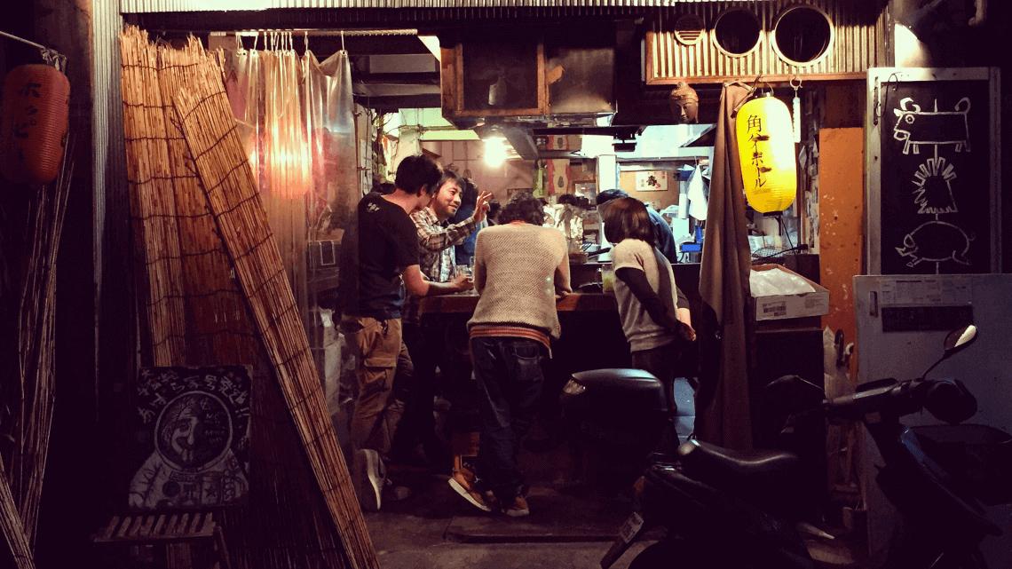 A tachinomiya (stand-up bar) in Shibuya, Tokyo, Japan