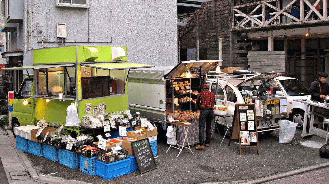 Naka-Meguro canalside farmers' market and mobile cafe, Tokyo, Japan