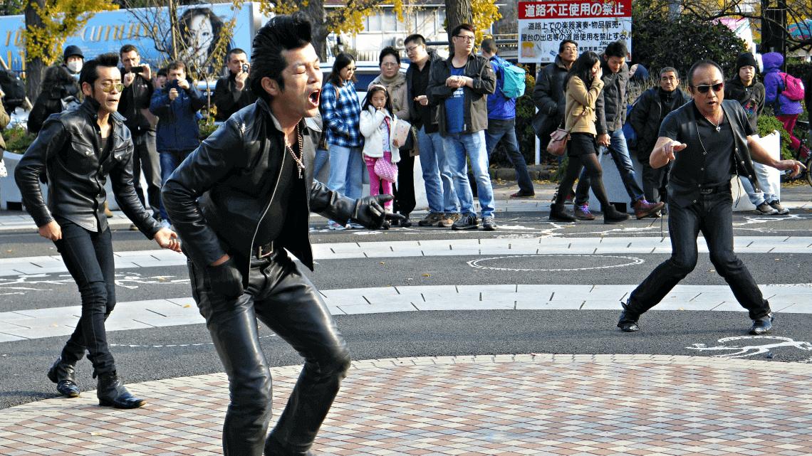 Rockabilly dancers in Yoyogi Park, Harajuku, Tokyo, Japan