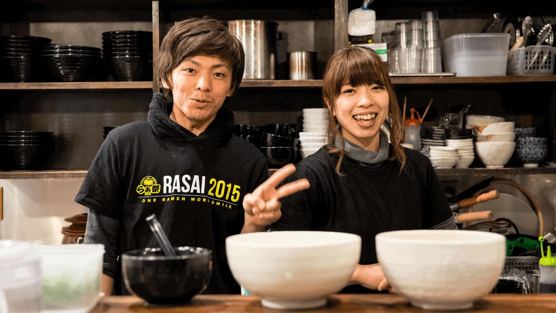 Siblings serve ramen at Kozu Ramen in Fukushima, Osaka, Japan