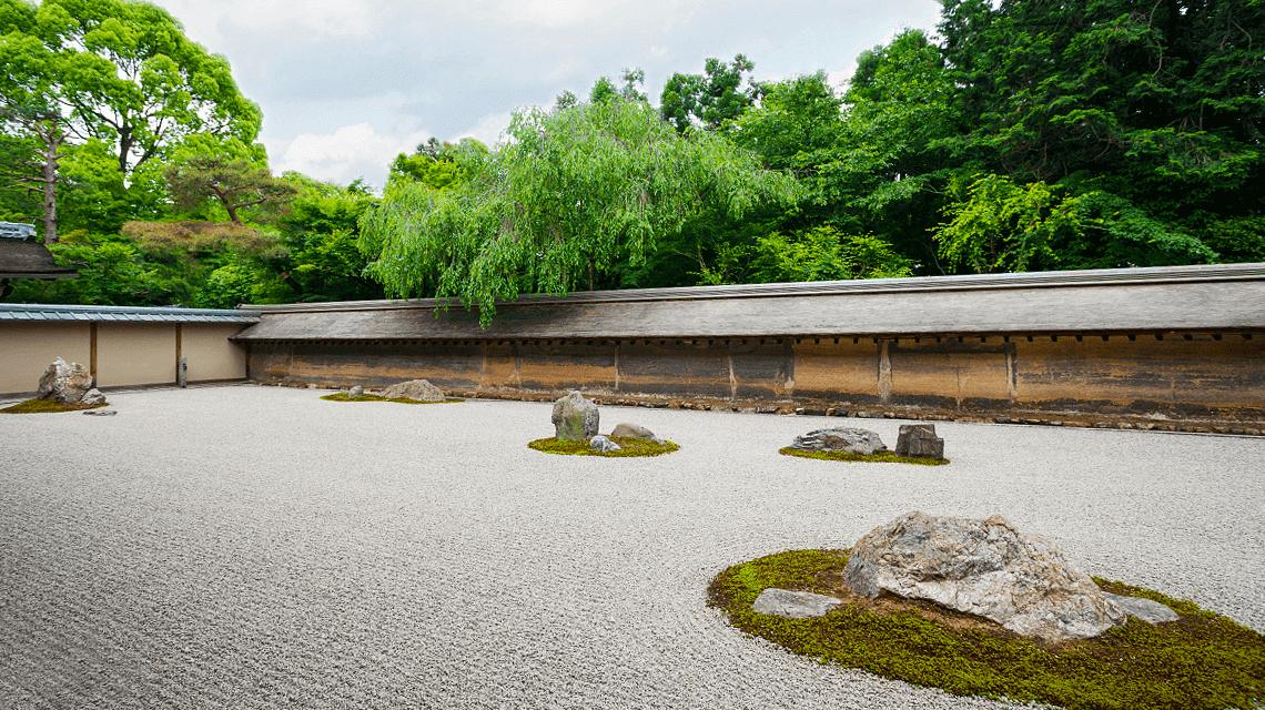The famous rock garden at Ryoan-ji Temple, Kyoto, Japan