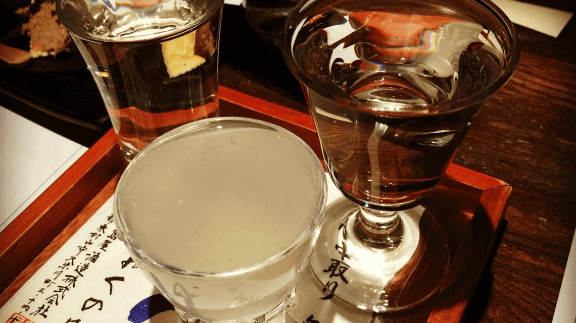 Sake tasting at Jam Hostel and Sake Bar, Kyoto, Japan
