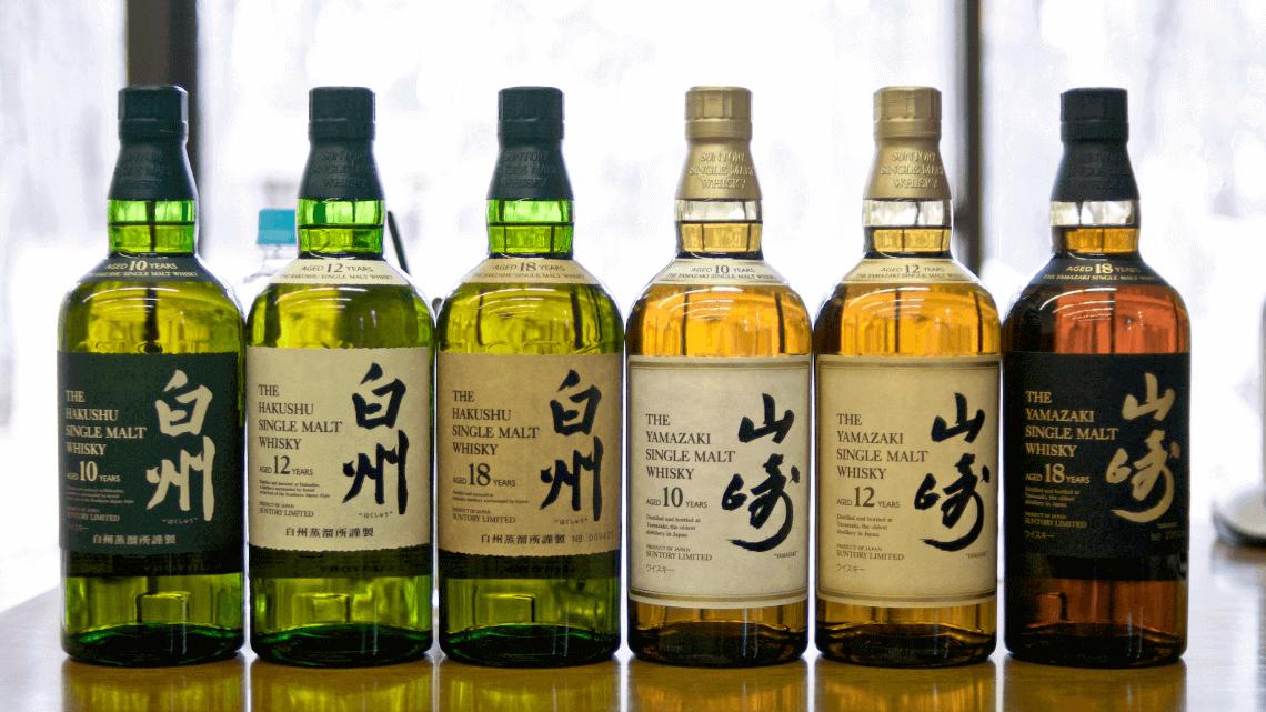 Six bottles of Hakushu and Yamazaki single malt Japanese whisky