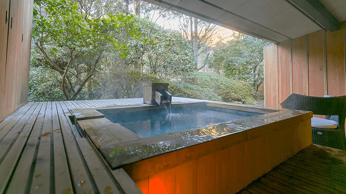 A private bath at Tsubaki Ryokan, Okuyugawara, Japan