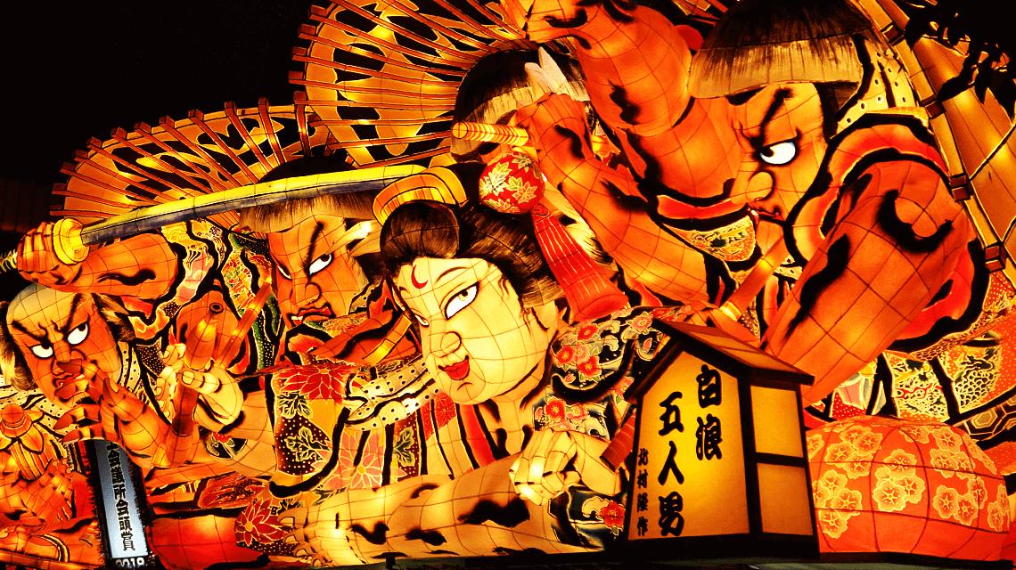 The vibrant floats of the Nebuta Matsuri, Aomori, Japan