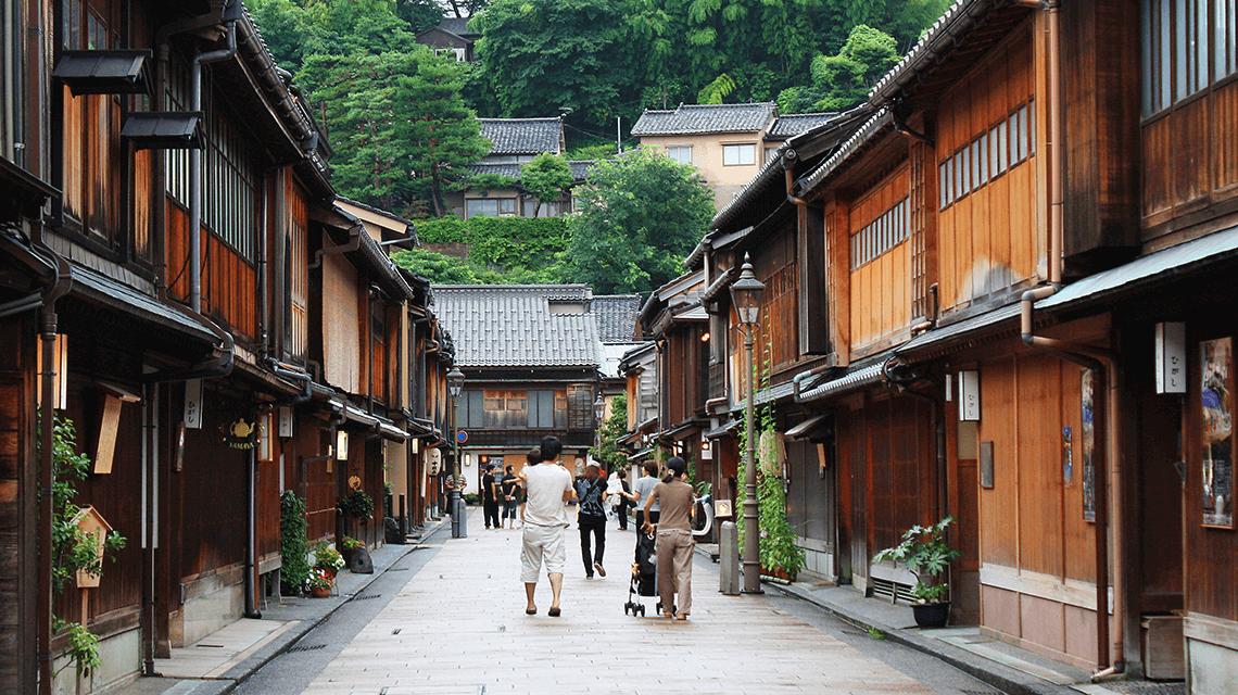 The geisha and teahouse district of Higashi Chaya, Kanazawa, Japan