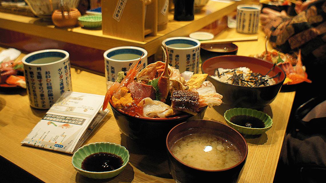 Kaisendon (seafood and rice bowl) served at Omicho Market, Kanazawa, Japan