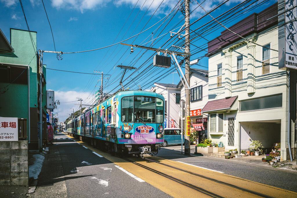Enoden local train in Kamakura, Japan