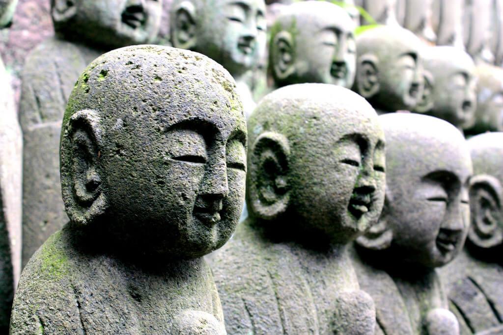Jizo bodhisattva statues at Hasedera Temple in Kamakura, Japan
