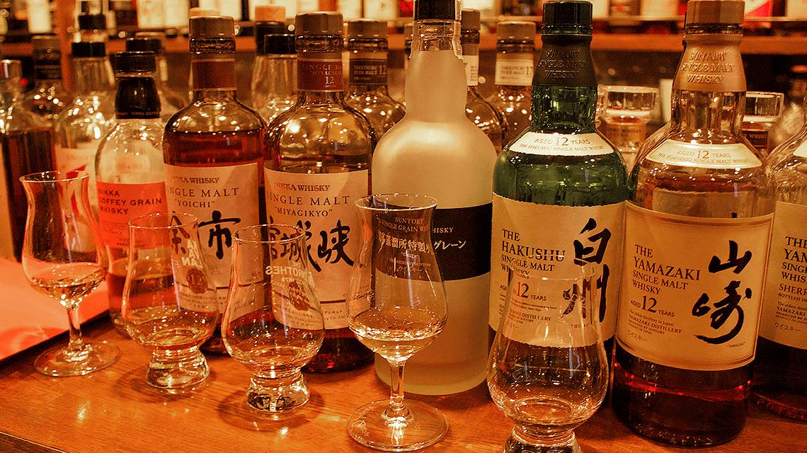 Whisky tasting at a whisky bar in Tokyo, Japan