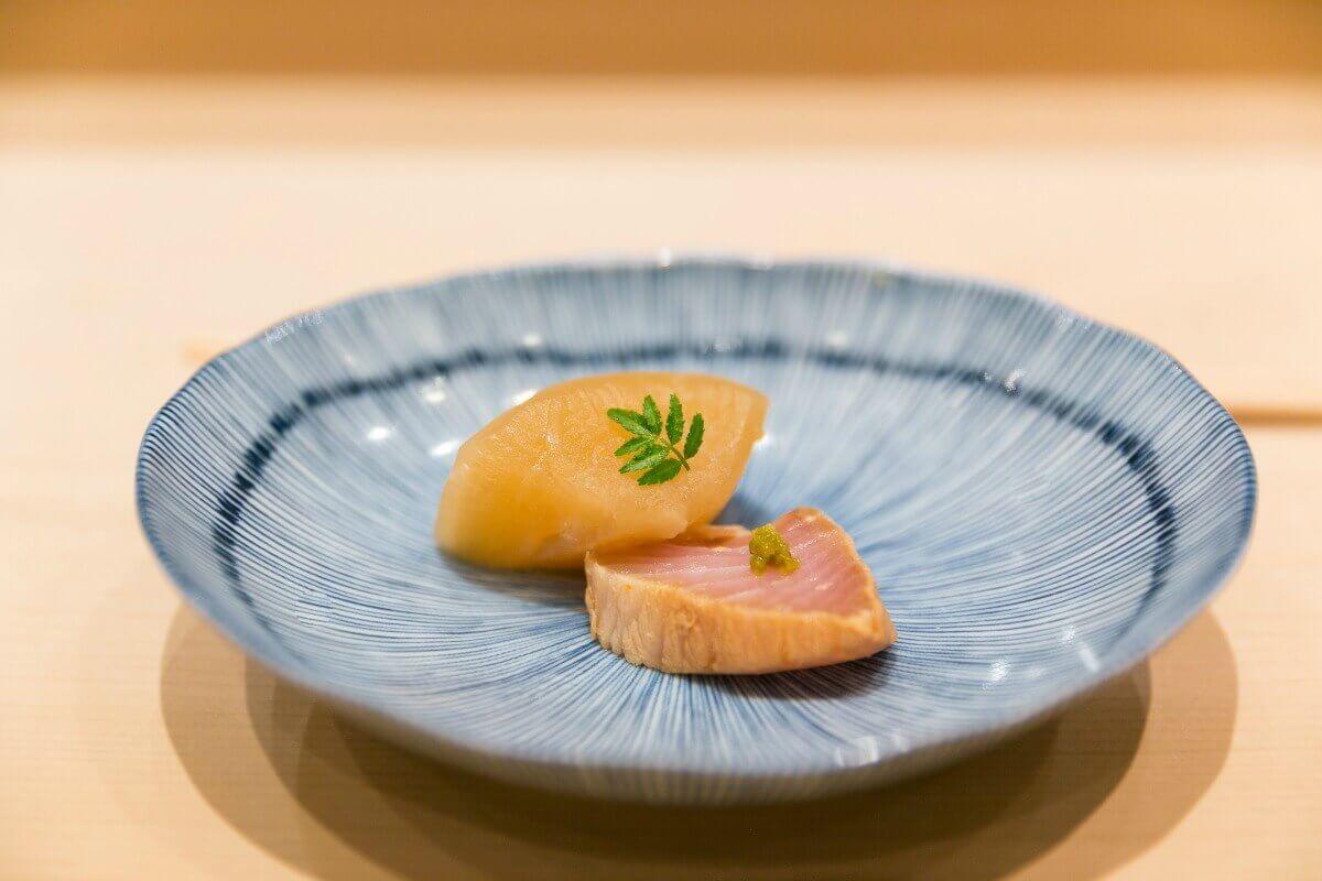 Buri and Daikon at Sushi Tokami in Tokyo, Japan