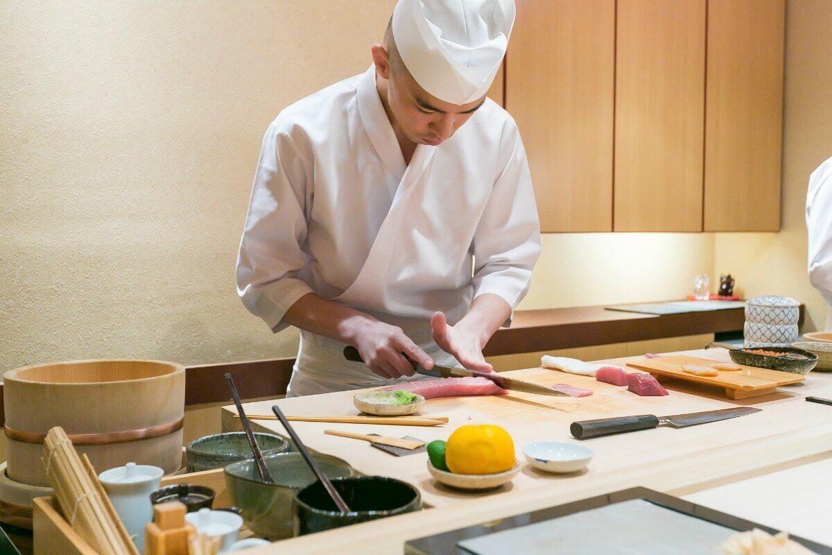Chef at Sushi Iwa in Tokyo, Japan