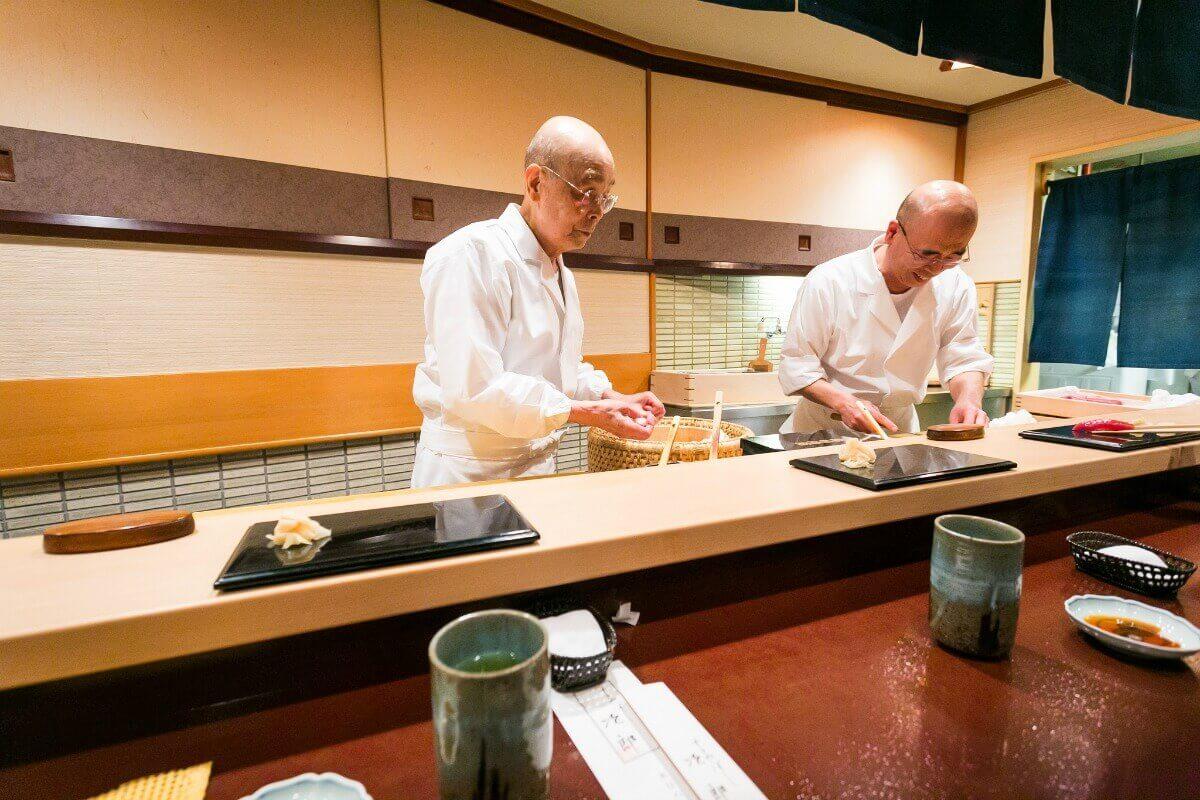 Jiro Ono and Yoshikazu at Sukiyabashi Jiro