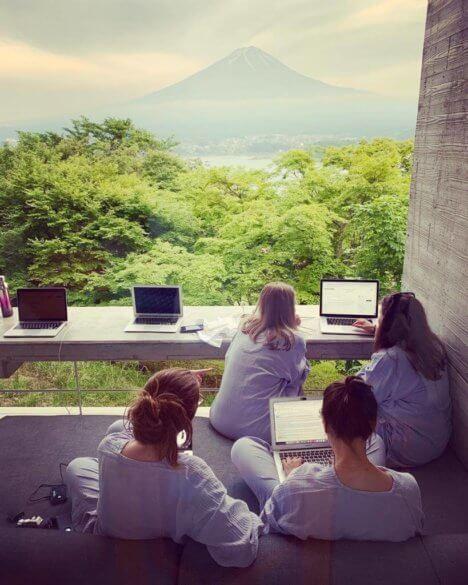 The Boutique Japan team working at Hoshinoya Fuji in Kawaguchiko Japan.jpeg